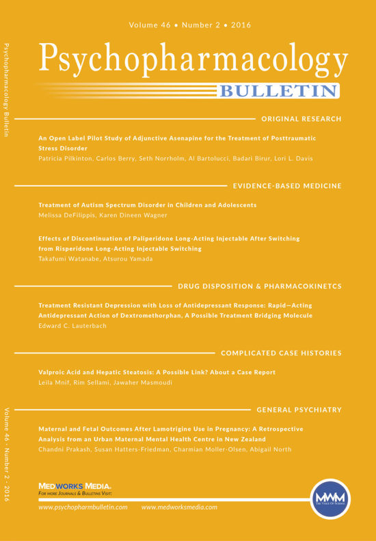 Psychopharmacology Bulletin VOL 46 No. 2 Digital Replica Edition