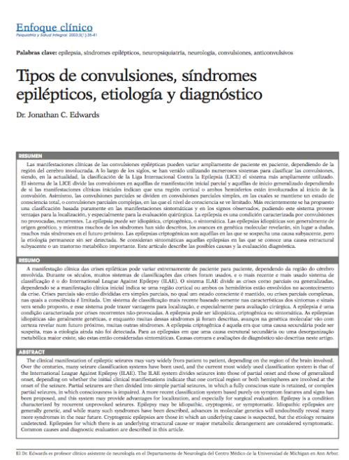 Enfoque clínico: Tipos de convulsiones, síndromes epilépticos, etiología y diagnóstico