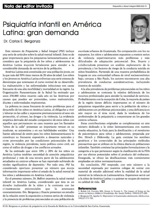 Nota del editor invitado: Psiquiatría infantil en América Latina: gran demanda