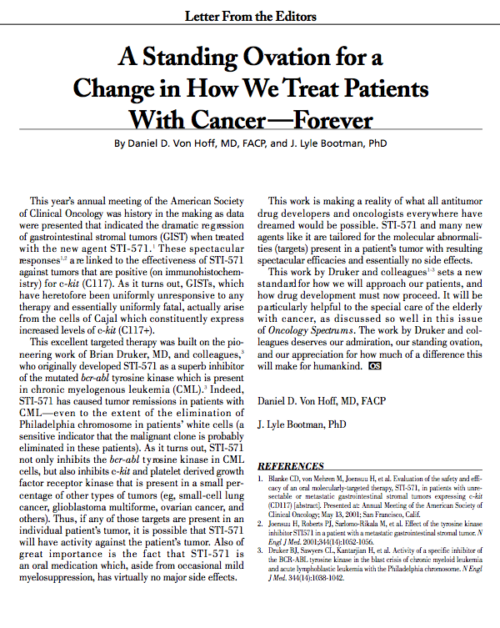 Letter From the Editors: A Standing Ovation for a Change in How We Treat Patients With Cancer —Forever