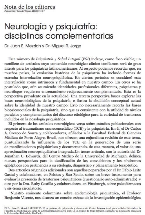 Nota de los editores: Neurología y psiquiatría: disciplinas complementarias