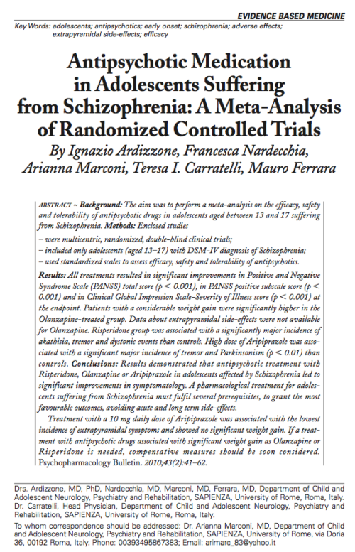 Antipsychotic Medication in Adolescents Suffering from Schizophrenia: A Meta-Analysis of Randomized Controlled Trials