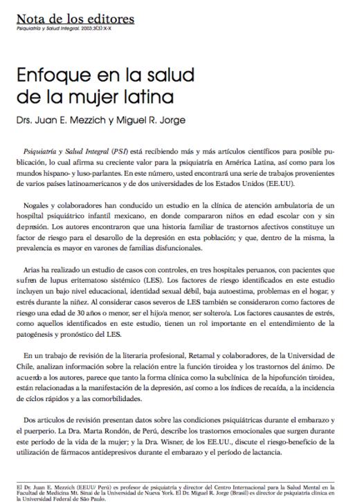 Nota de los editores: Enfoque en la salud de la mujer latina