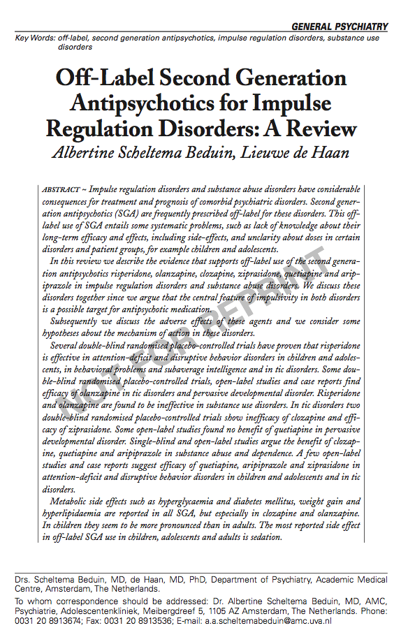 Off-Label Second Generation Antipsychotics for Impulse Regulation Disorders: A Review