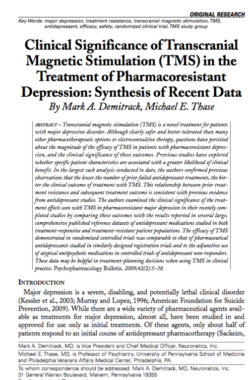 Clinical Significance of Transcranial Magnetic Stimulation (TMS) in the Treatment of Pharmacoresistant Depression: Synthesis of Recent Data