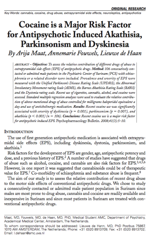Cocaine is a Major Risk Factor for Antipsychotic Induced Akathisia, Parkinsonism and Dyskinesia