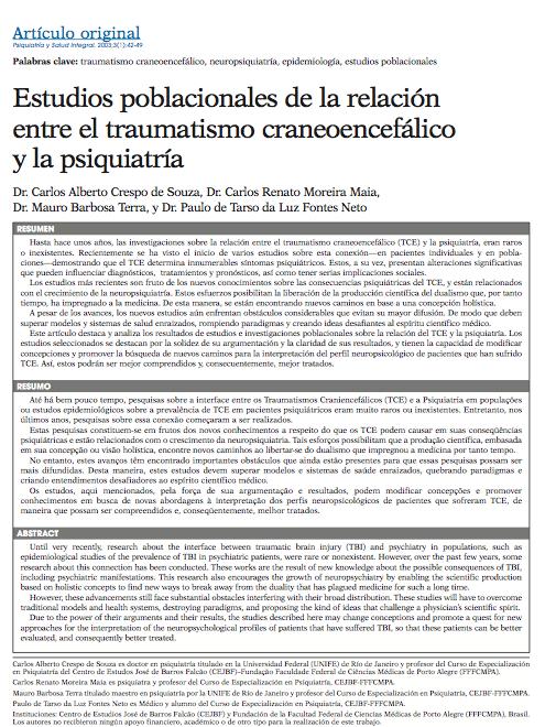 Estudios poblacionales de la relación entre el traumatismo craneoencefálico y la psiquiatría