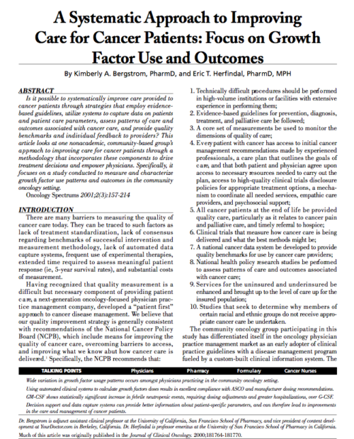 A Systematic Approach to Improving Care for Cancer Patients: Focus on Growth Factor Use and Outcomes