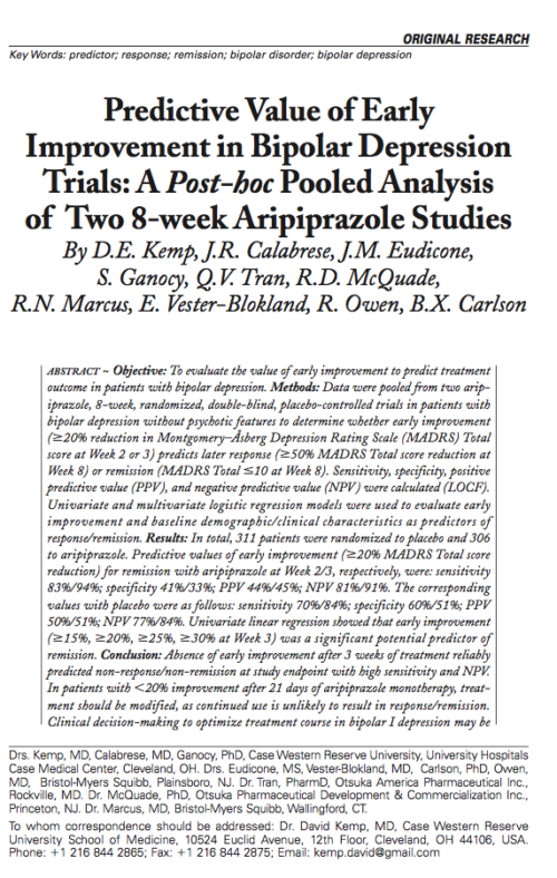Predictive Value of Early Improvement in Bipolar Depression Trials: A Post-hoc Pooled Analysis of Two 8-week Aripiprazole Studies