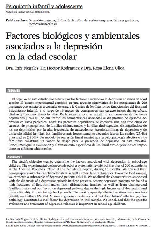 Psiquiatría infantil y adolescente: Factores biológicos y ambientales asociados a la depresión en la edad escolar