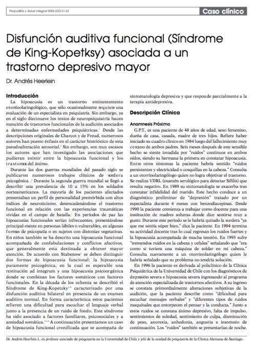 Caso clínico: Disfunción auditiva funcional (Síndrome de King-Kopetksy) asociada a un trastorno depresivo mayor
