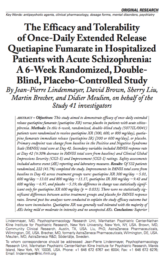 The Efficacy and Tolerability of Once-Daily Extended Release Quetiapine Fumarate in Hospitalized Patients with Acute Schizophrenia: A 6-Week Randomized, Double-Blind, Placebo-Controlled Study