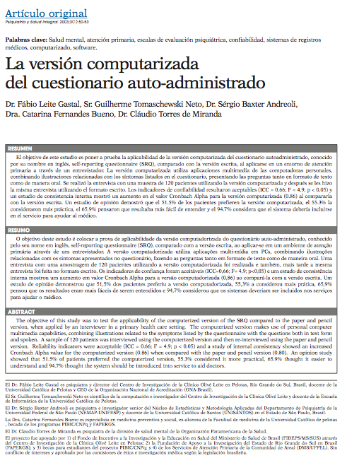Artículo original: La versión computarizada del cuestionario auto-administrado