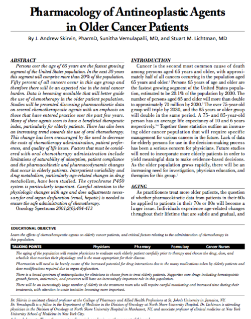 Pharmacology of Antineoplastic Agents in Older Cancer Patients