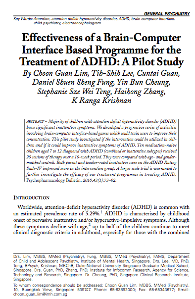 Effectiveness of a Brain-Computer Interface Based Programme for the Treatment of ADHD: A Pilot Study