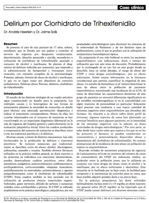 Caso clínico: Delirium por Clorhidrato de Trihexifenidilo
