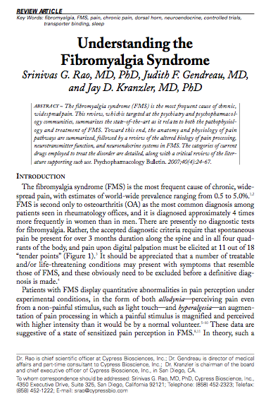 Srinivas G. Rao, MD, PhD: Understanding The Fibromyalgia Syndrome