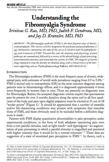 Srinivas G. Rao, MD, PhD: Understanding The Fibromyalgia Syndrome