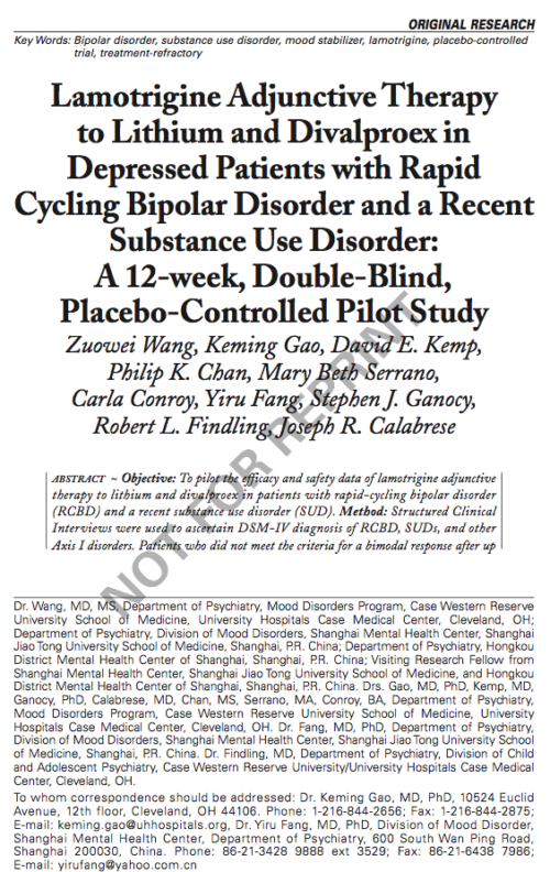 Lamotrigine Adjunctive Therapy to Lithium and Divalproex in Depressed Patients with Rapid Cycling Bipolar Disorder and a Recent Substance Use Disorder: A 12-week, Double-Blind, Placebo-Controlled Pilot Study