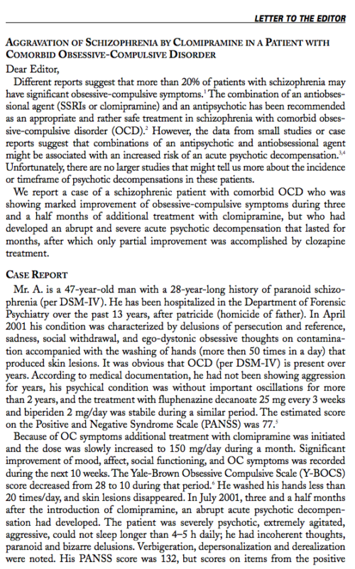 Letter to the Editor: AGGRAVATION OF SCHIZOPHRENIA BY CLOMIPRAMINE IN A PATIENT WITH COMORBID OBSESSIVE-COMPULSIVE DISORDER