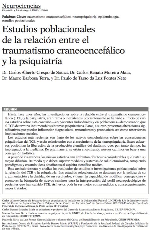 Neurociencias: Estudios poblacionales de la relación entre el traumatismo craneoencefálico y la psiquiatría