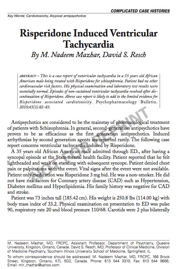 Risperidone Induced Ventricular Tachycardia