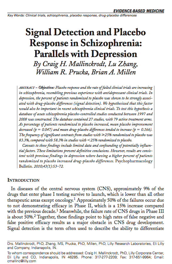 Signal Detection and Placebo Response in Schizophrenia: Parallels with Depression