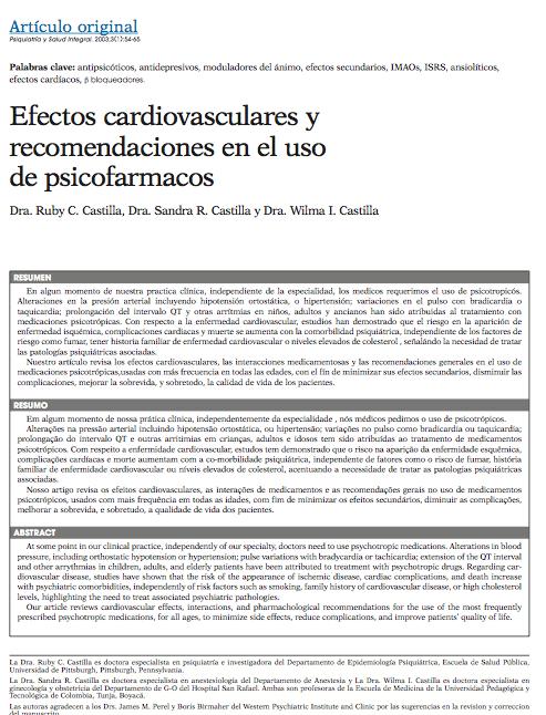 Artículo original: Efectos cardiovasculares y recomendaciones en el uso de psicofarmacos