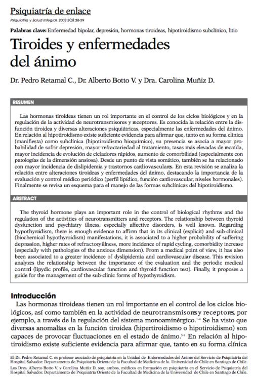Psiquiatría de enlace: Tiroides y enfermedades del ánimo