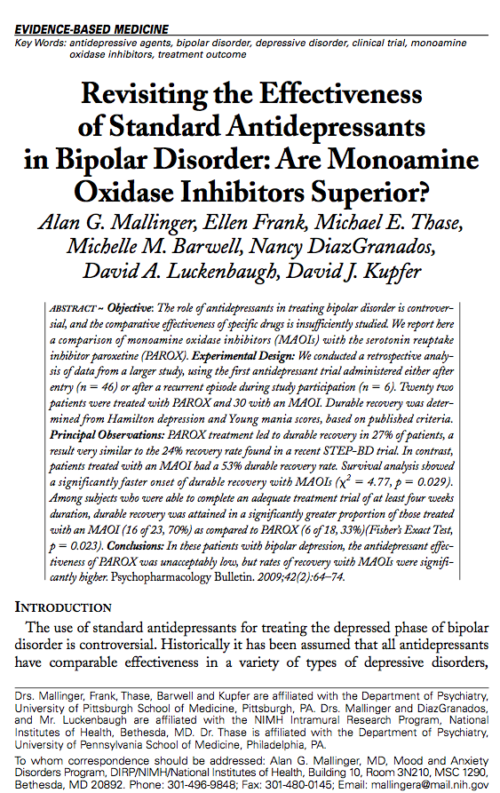 Revisiting the Effectiveness of Standard Antidepressants in Bipolar Disorder: Are Monoamine Oxidase Inhibitors Superior?