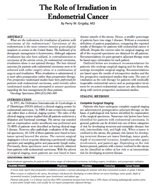 The Role of Irradiation in Endometrial Cancer