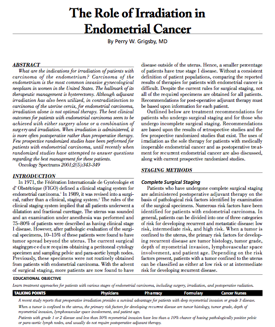 The Role of Irradiation in Endometrial Cancer - MedWorks Media