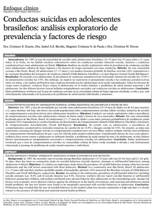 Enfoque clínico: Conductas suicidas en adolescentes brasileños: análisis exploratorio de prevalencia y factores de riesgo
