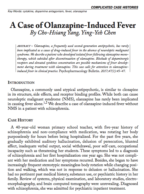 A Case of Olanzapine-Induced Fever