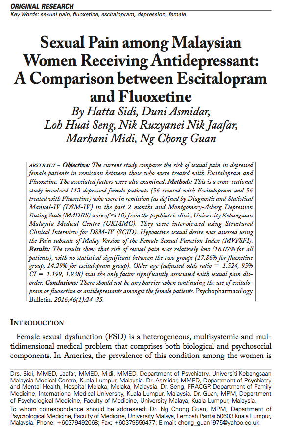 Sexual Pain among Malaysian Women Receiving Antidepressant: A Comparison between Escitalopram and Fluoxetine