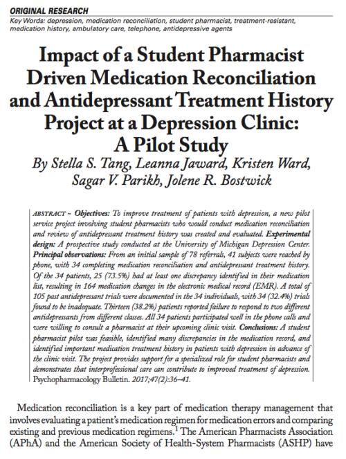 Impact of a Student Pharmacist Driven Medication Reconciliation and Antidepressant Treatment History Project at a Depression Clinic: A Pilot Study