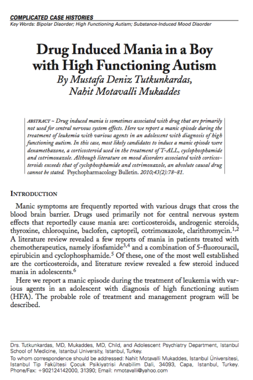 Drug Induced Mania in a Boy with High Functioning Autism