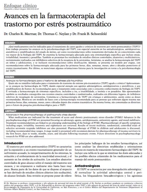 Enfoque clínico: Avances en la farmacoterapia del trastorno por estrés postraumático