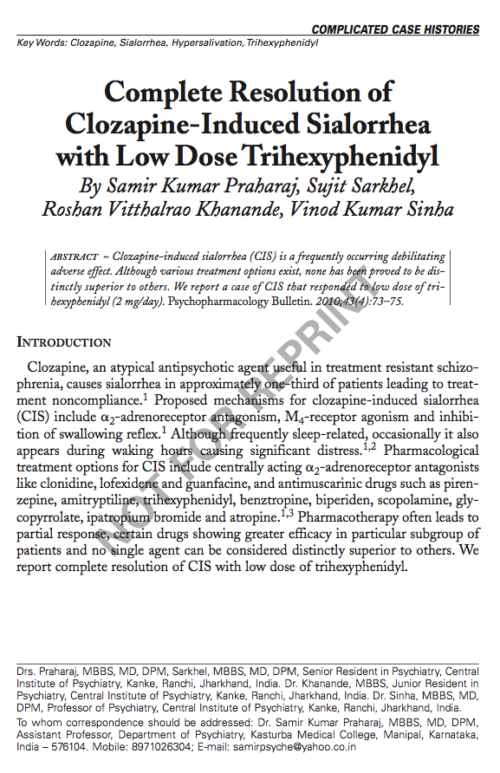 Complete Resolution of Clozapine-Induced Sialorrhea with Low Dose Trihexyphenidyl