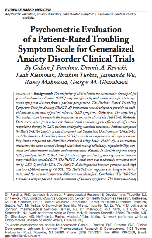 Psychometric Evaluation of a Patient-Rated Troubling Symptom Scale for Generalized Anxiety Disorder Clinical Trials