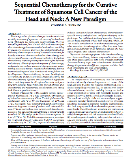 Sequential Chemotherapy for the Curative Treatment of Squamous Cell Cancer of the Head and Neck: A New Paradigm