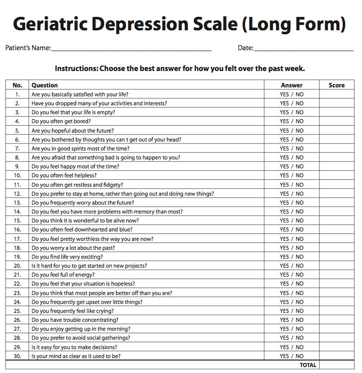 Geriatric Depression Scale Long Form