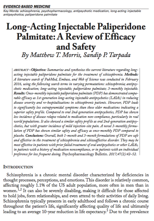 Long-Acting Injectable Paliperidone Palmitate: A Review of Efficacy and Safety