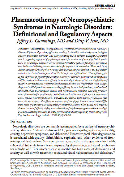 Pharmacotherapy of Neuropsychiatric Syndromes in Neurologic Disorders: Definitional and Regulatory Aspects