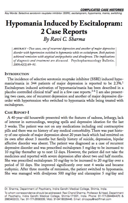 Hypomania Induced by Escitalopram: 2 Case Reports
