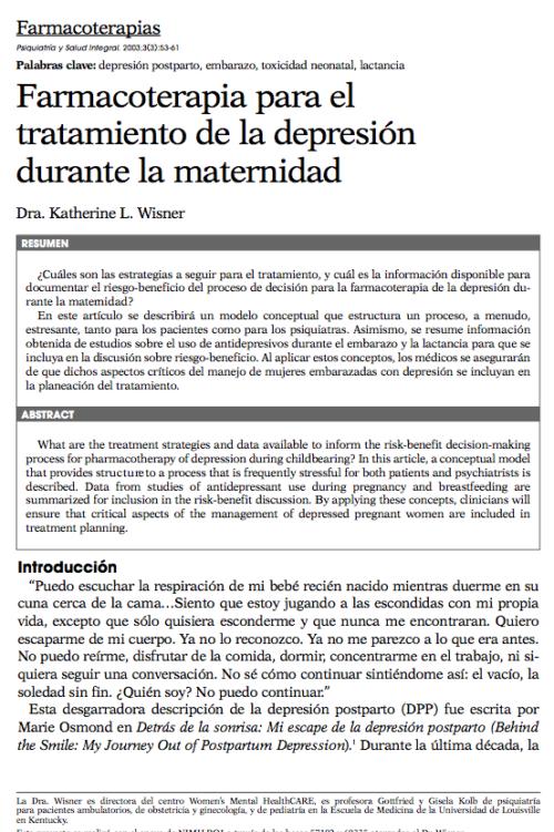 Farmacoterapias: Farmacoterapia para el tratamiento de la depresión durante la maternidad