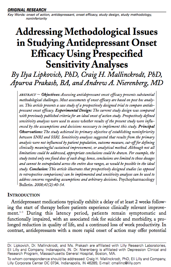 Addressing Methodological Issues in Studying Antidepressant Onset Efficacy Using Prespecified Sensitivity Analyses