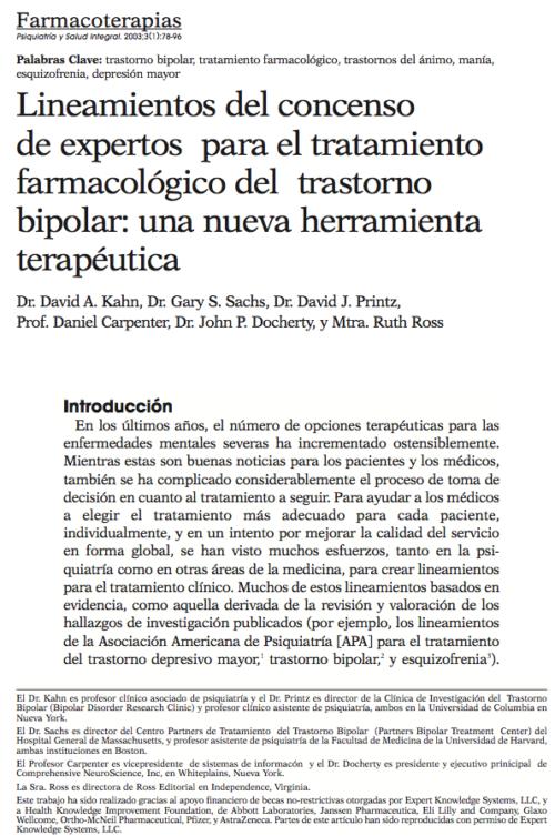 Farmacoterapias: Lineamientos del concenso de expertos para el tratamiento farmacológico del trastorno bipolar: una nueva herramienta terapéutica
