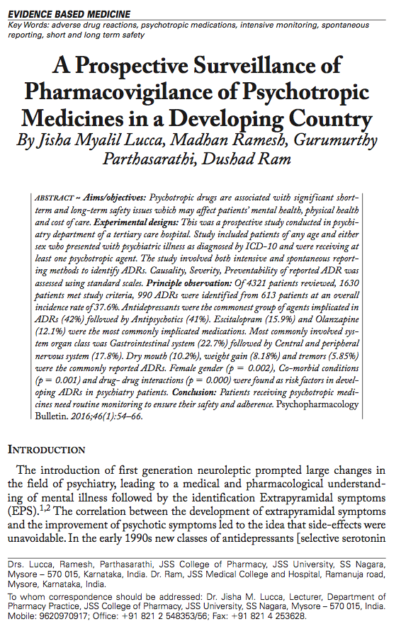 A Prospective Surveillance of Pharmacovigilance of Psychotropic Medicines in a Developing Country
