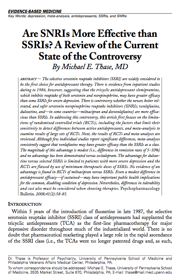 Are SNRIs More Effective than SSRIs? A Review of the Current State of the Controversy